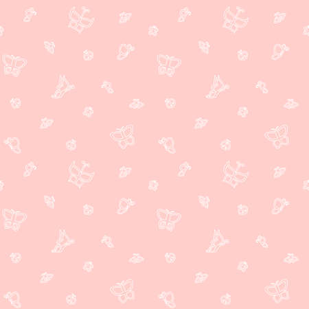 White butterflies on a pink background