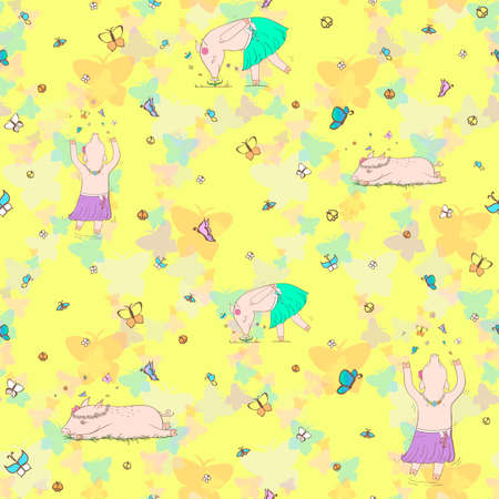 Cheerful pig on a yellow background Illustration