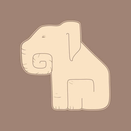 dichromatic: Flat beige elephant on a brown background