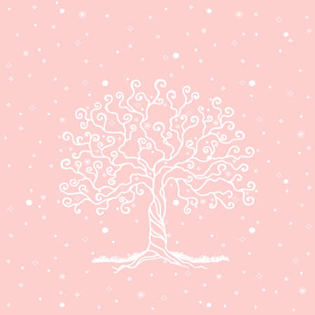 gentleness: White tree on seamless background
