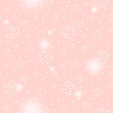dichromatic: White roses ceaseless pattern on a pink background
