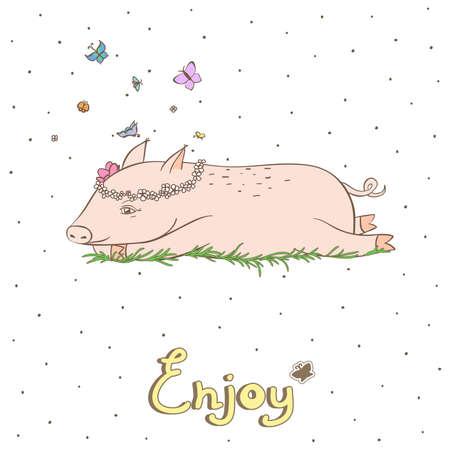 joyous life: Simple graphic object - a debonair pig