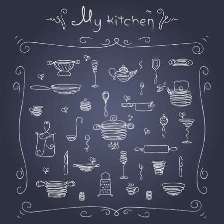 pepperbox: Stylized sketch of tableware on the blackboard.