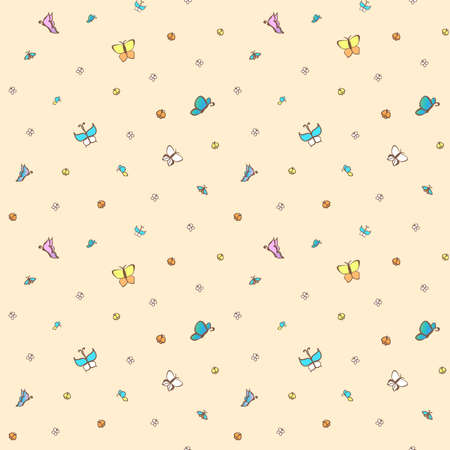 petunia: Multicolored butterflies on pale pink background. Seamless pattern.