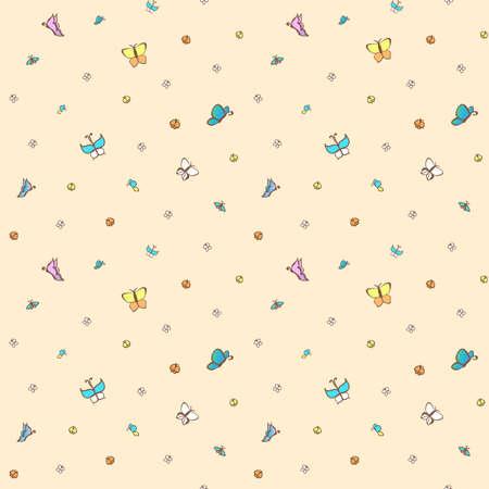 buoyancy: Multicolored butterflies on pale pink background. Seamless pattern.
