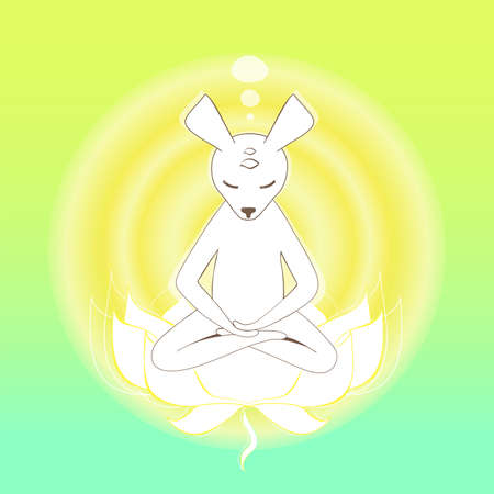 existentialism: Simple graphic object - Meditating mouse in the lotus Illustration
