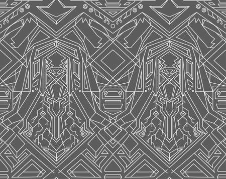 transformer: Geometric seamless pattern transformer. Line Art. EPS 8