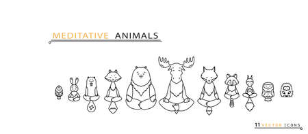 seated: Meditative Animals series. Animal figures seated in the lotus position. Good for design of postcards, printed materials for those who are engaged in yoga. All figures are isolated.