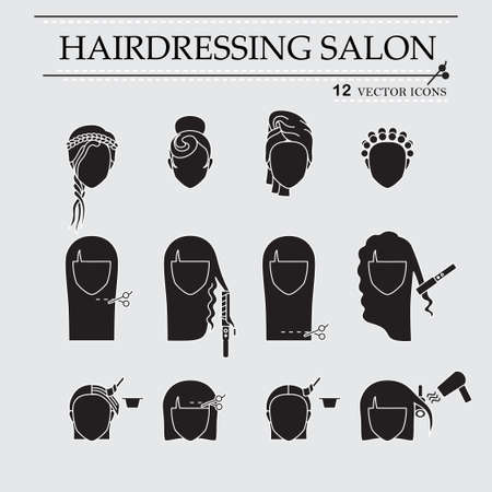 woman washing face: Hairdressing salon. Icons Set. EPS 10 isolated objects