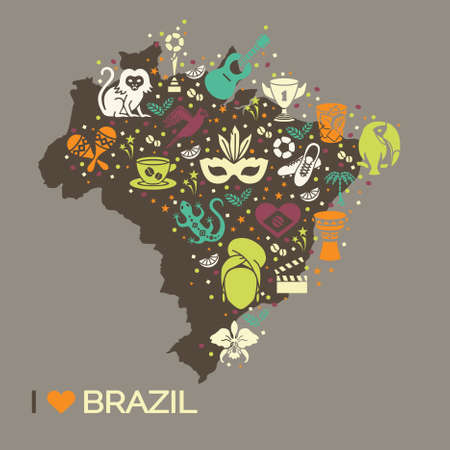 alcohol series: Brazilian thematic print 6. Vector illustration EPS 10