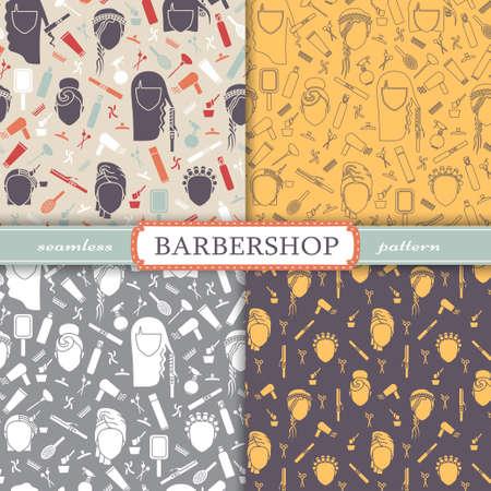 barbershop: Seamless patterns - barbershop. Hairdresser tools EPS 10