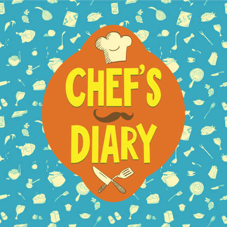 diary cover: kitchenware seamless pattern good for printing on fabric and creating a wrapper for your handmade food. Also possible to use as a chefs diary cover or as a design element of your website. Illustration