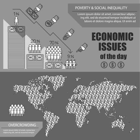 overcrowding: infographics about most important global economic issues of the day for thematic publications.