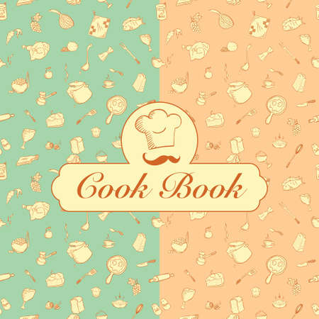 cook book: kitchenware seamless pattern good for printing on fabric and creating a wrapper for your handmade food. Also possible to use as a cook book cover or design element of your website. Illustration