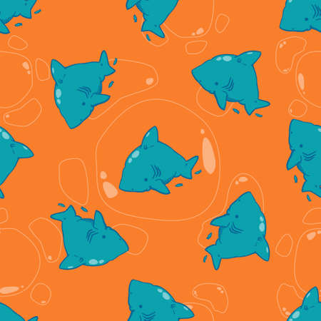 boyish: cute sharks are perfect for printing on fabric and creating a wrapper for gift to children. also possible to use as a childrens room design as wallpaper, or as a design element to your website.