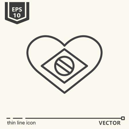brazilian: Thin line icon - heart with brazilian flag. Illustration
