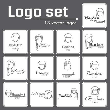 womanish: Logo set for beauty salon or barbershop. EPS 10 Isolated objects Illustration