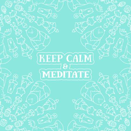 position d amour: Méditative série animaux. Figures d'animaux assis dans la position du lotus. Bon pour la conception de cartes postales, documents imprimés pour ceux qui sont engagés dans le yoga. Illustration