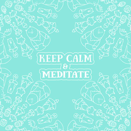 Meditative Animals series. Animal figures seated in the lotus position. Good for design of postcards, printed materials for those who are engaged in yoga. Illustration