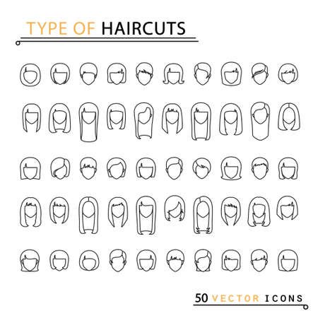 womanish: Type of haircuts. 50 thin line icons. Isolated object. EPS 10