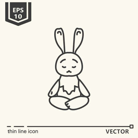 Thin line icon. Meditative Animals series - hare. EPS 10. Isolated object