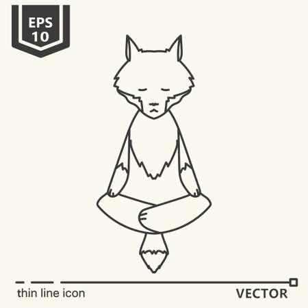 Thin line icon. Meditative Animals series - wolf. EPS 10. Isolated object Illustration