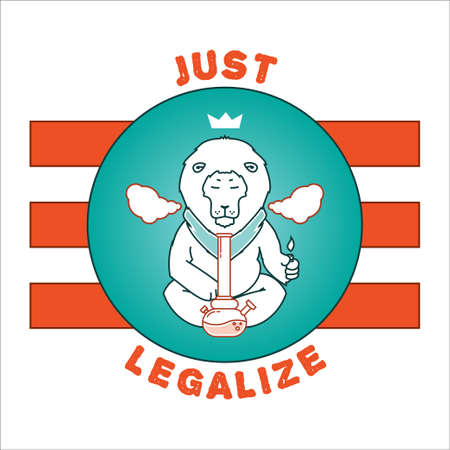 Vector poster - just legalize. Animals smoke marijuana. Good for design of postcards, printed materials, maybe it s logo for your own label. Hope you Enjoy it. Illustration