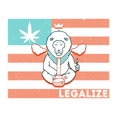 Vector poster. just legalize series. Animals smoke marijuana. Good for design of postcards, printed materials, maybe it s logo for your own label. Hope you Enjoy it.