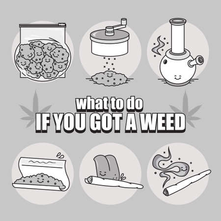 bong: what to do if you got a weed series. EPS 10. Vector illustration(poster) in line art style.  6 Isolated object.