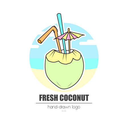 nice looking hand-drawn   (icon, illustration) fresh coconut
