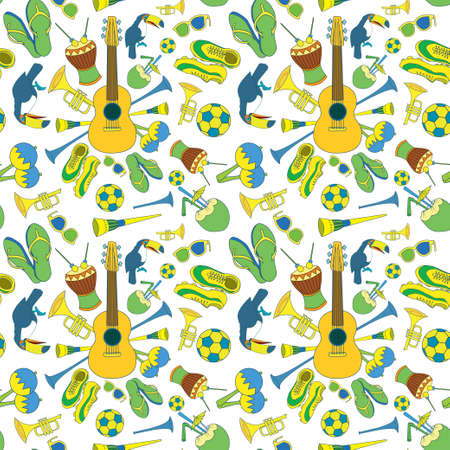 Seamless pattern with Brazilian theme. 12 objects. Musical instruments, toukans, palm leaves, football etc. Bright & fun, enjoy it. Stock fotó
