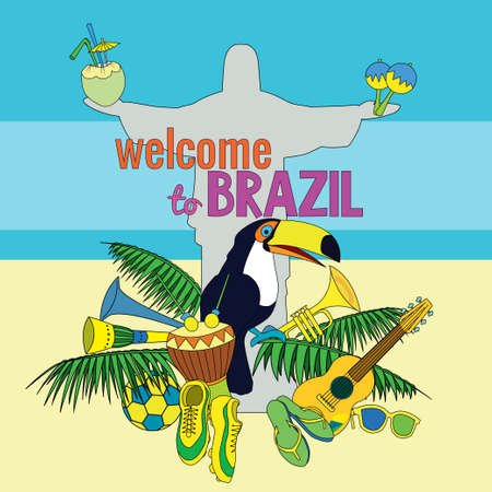 cristo: welcome to Brazil. Bright & colorfull poster.