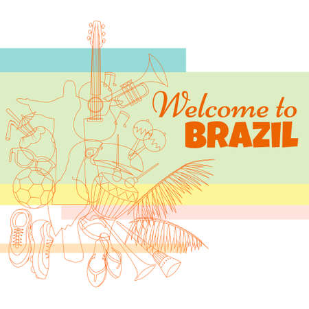 welcome to Brazil. Bright & colorfull poster.