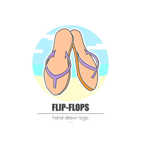 nice looking hand-drawn logo (icon, illustration)  flip-flops Stock Photo