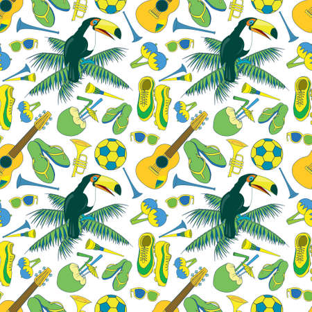 Seamless pattern with Brazilian theme. 11 objects. Musical instruments, toukans, palm leaves, football etc. Bright & fun, enjoy it.