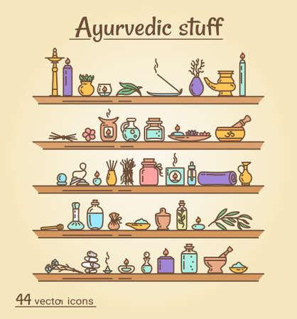 massage symbol: Icons set - Ayurvedic staff.  Isolated objects
