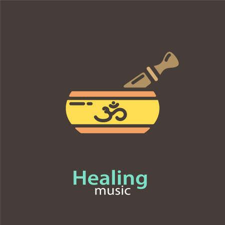 Genezende muziek - logo vector ontwerpsjabloon. EPS 10 Geïsoleerde objecten. Stock Illustratie