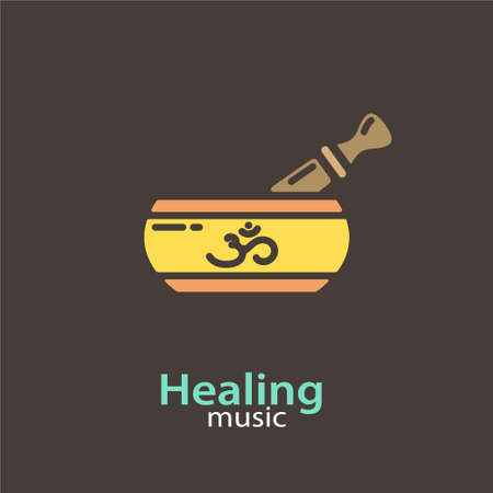 Healing music - logo design vector template. EPS 10 Isolated objects. Illusztráció