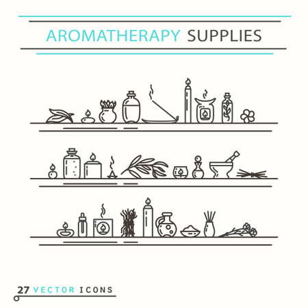 furnishings: Aromatherapy supplies icons. EPS 10 Isolated objects Illustration