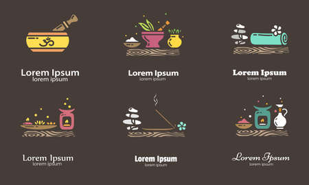 Set of elements for logo design. EPS 10 Isolated objects Illustration