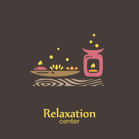 miniature: Relaxation center - logo design vector template. EPS 10 Isolated objects. Illustration