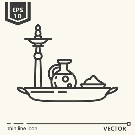 Thin line icon - ayurvedic accessories. EPS 10 Isolated objects