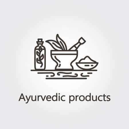 homeopathic: Ayurvedic products - logo design vector template. EPS 10 Isolated objects.