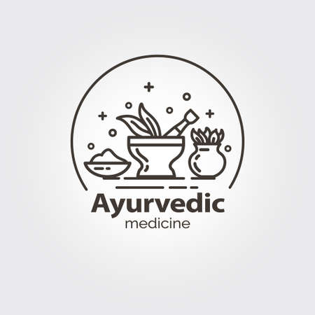 homeopathic: Ayurvedic medicine - logo design vector template. EPS 10 Isolated objects.
