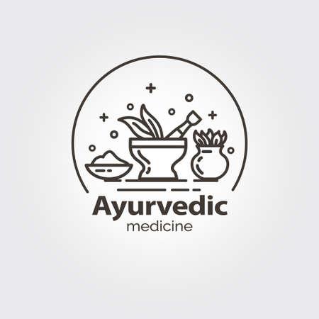 Medicina ayurvedica - modello di disegno del logo design. EPS 10 Oggetti isolati.