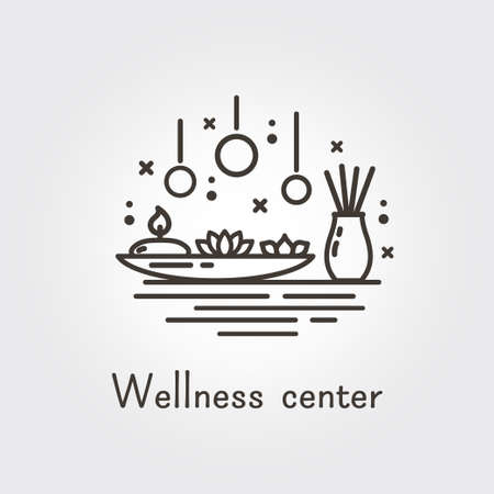 pacification: Wellness center - logo design vector template. EPS 10 Isolated objects. Illustration