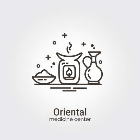 oriental medicine: Oriental medicine center - logo design vector template. EPS 10 Isolated objects. Illustration