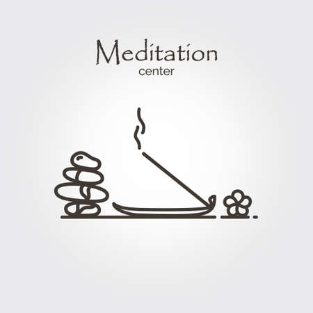 Meditation center - logo design vector template. EPS 10 Isolated objects.