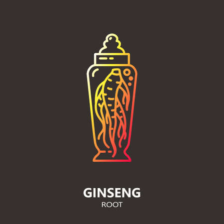 tincture: Logo template - ginseng root. EPS 10 Isolated object. Illustration