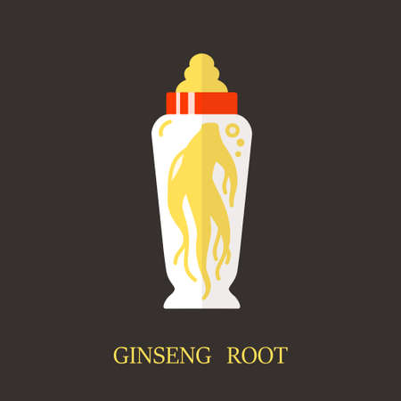 officinalis: Logo template - ginseng root. EPS 10 Isolated object. Illustration